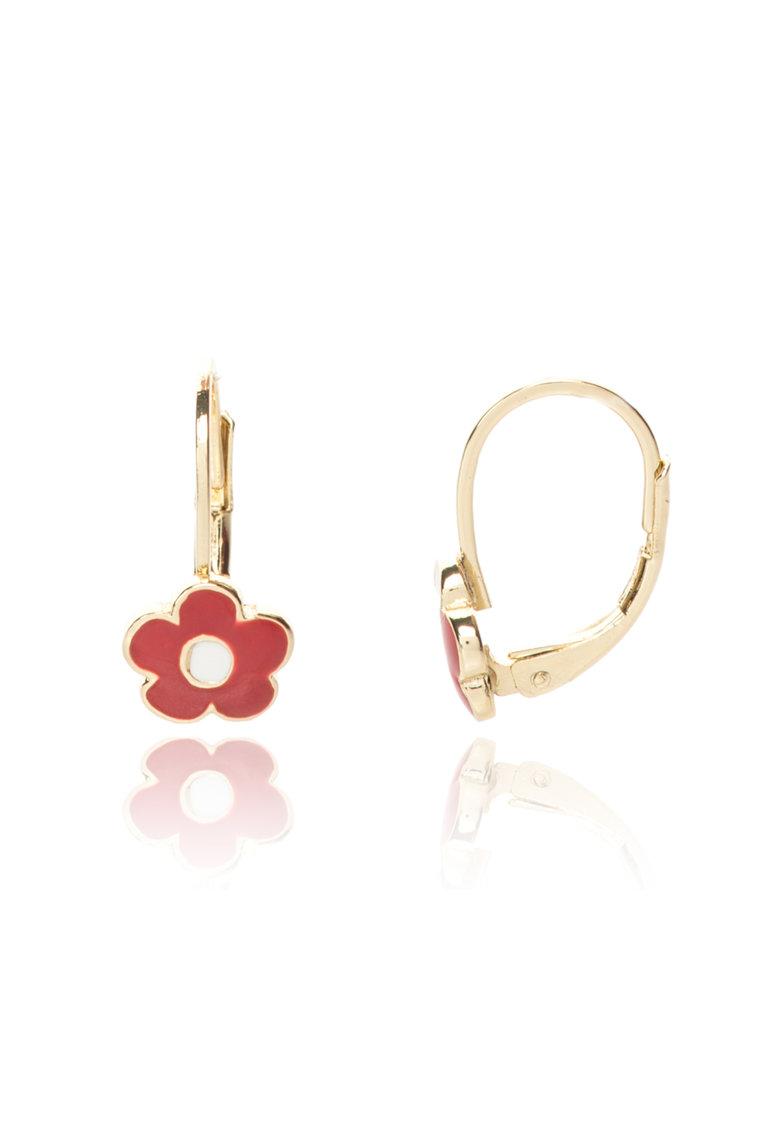 LMTS Cercei placati cu aur cu detalii rosii Frosted Flowers