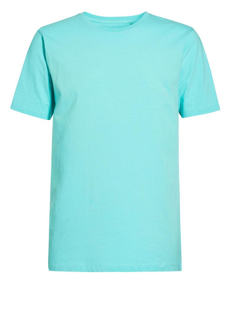 NEXT Tricou albastru aqua cu decolteu la baza gatului