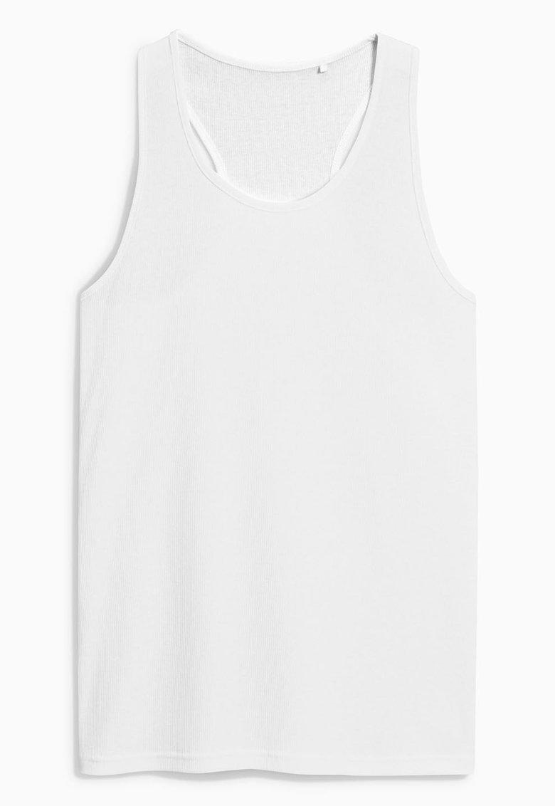 NEXT Top alb cu spate decupat