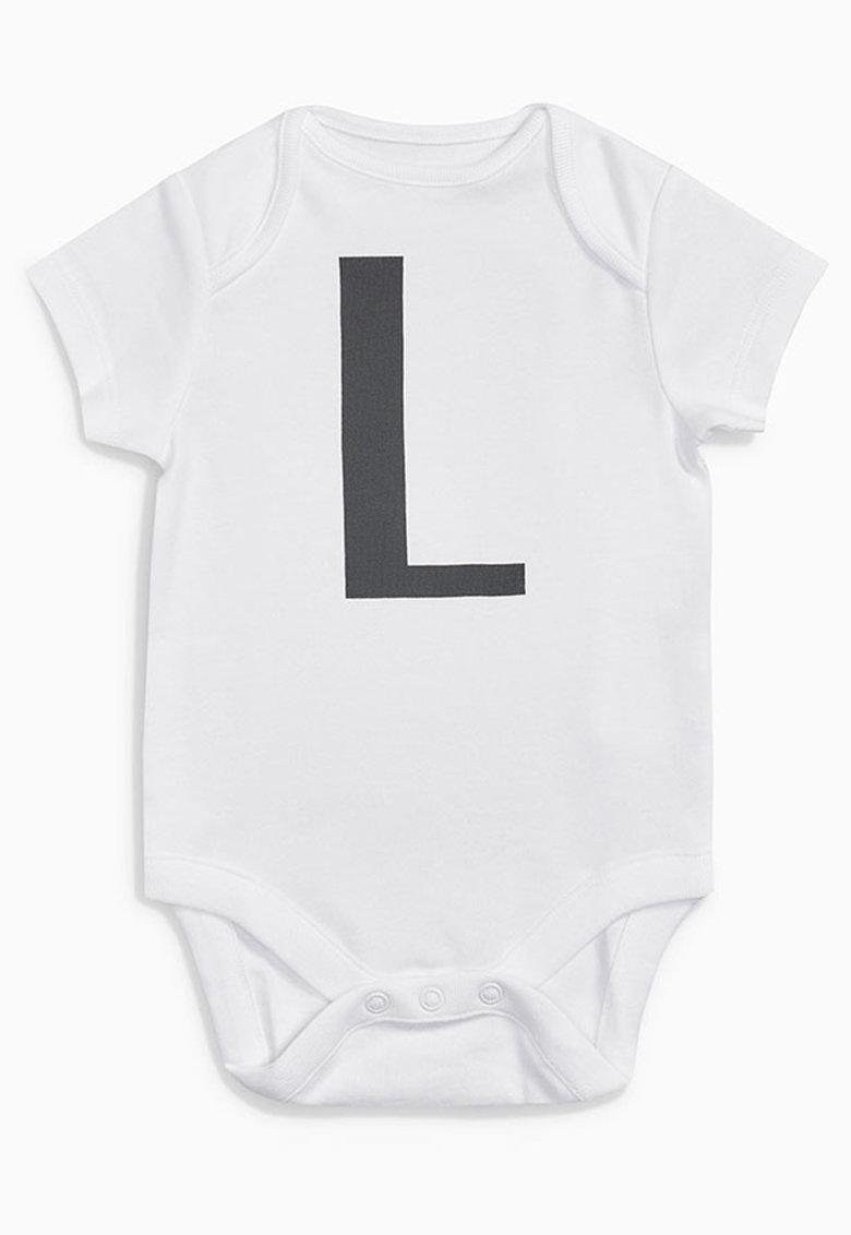 NEXT Body alb cu imprimeu si husa Alphabet