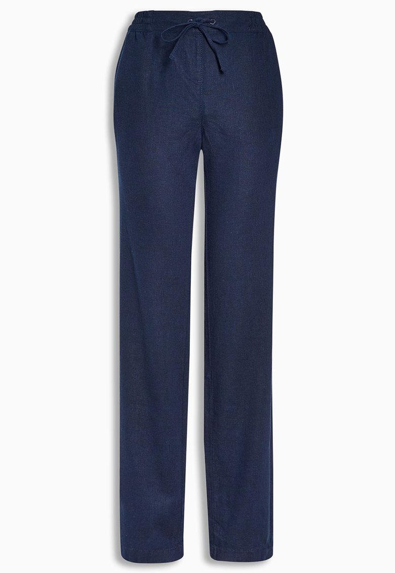 NEXT Pantaloni bleumarin din amestec de in
