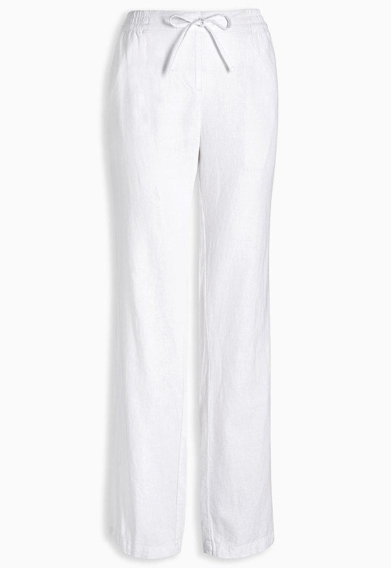 NEXT Pantaloni albi din amestec de in