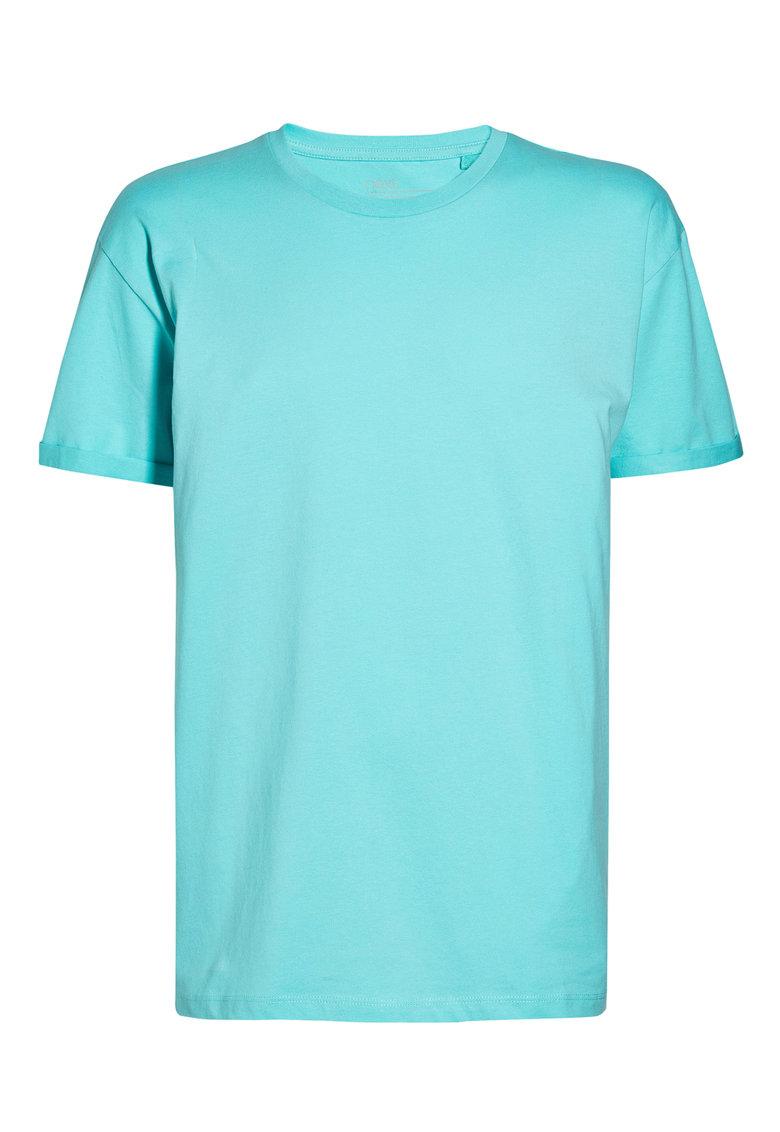 NEXT Tricou albastru aqua cu maneci pliabile