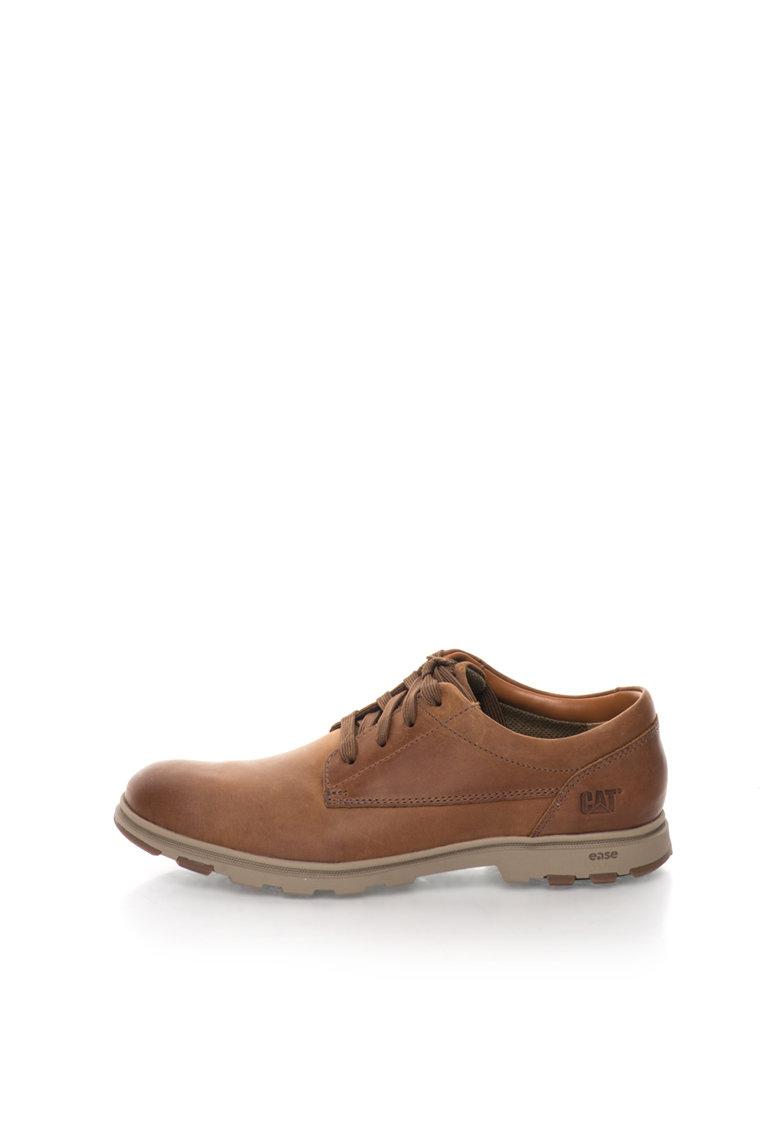 CAT Pantofi derby maro ciocolatiu de piele Berwick