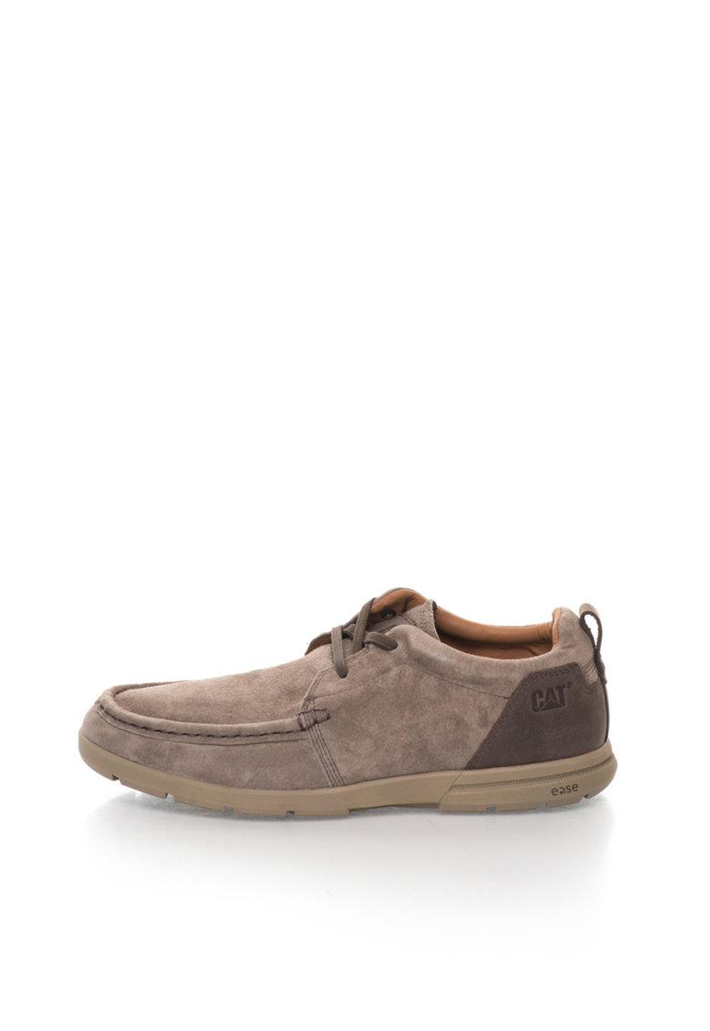 CAT Pantofi maro taupe de piele intoarsa si piele Wane