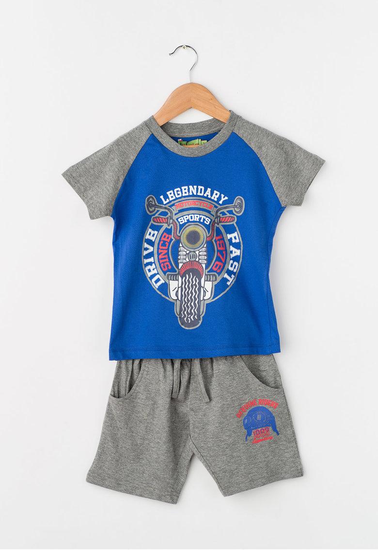 Zee Lane Kids Set albastru cu gri de tricou si pantaloni scurti