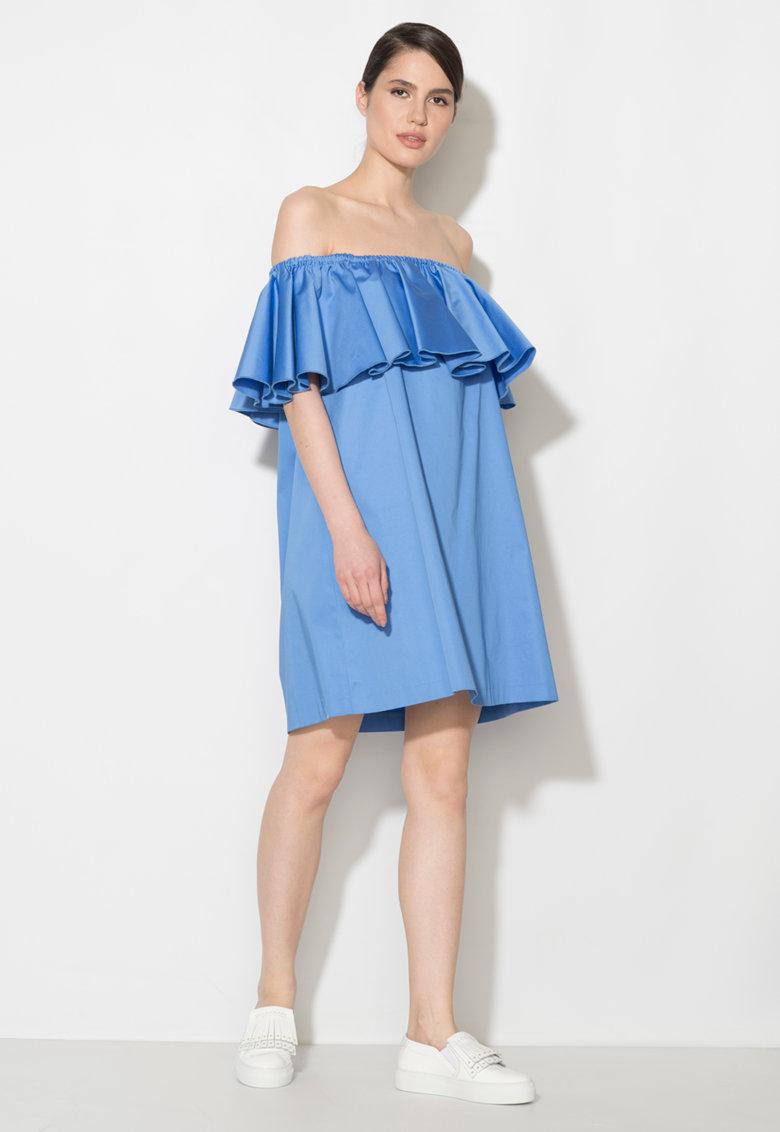 Zee Lane Denim Rochie albastru mineral cu decolteu pe umar si volane