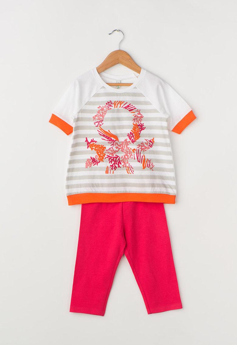 Undercolors of Benetton Pijama fucsia si alb cu garnituri oranj
