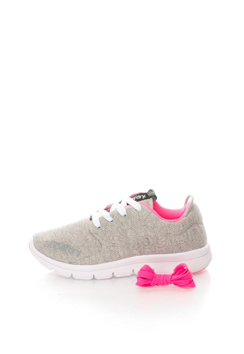 Superdry Pantofi sport gri deschis cu garnituri roz neon Scuba