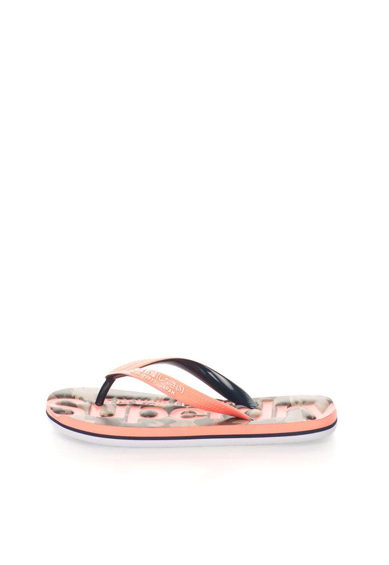 Superdry Papuci flip-flop roz bombon cu negru Classic