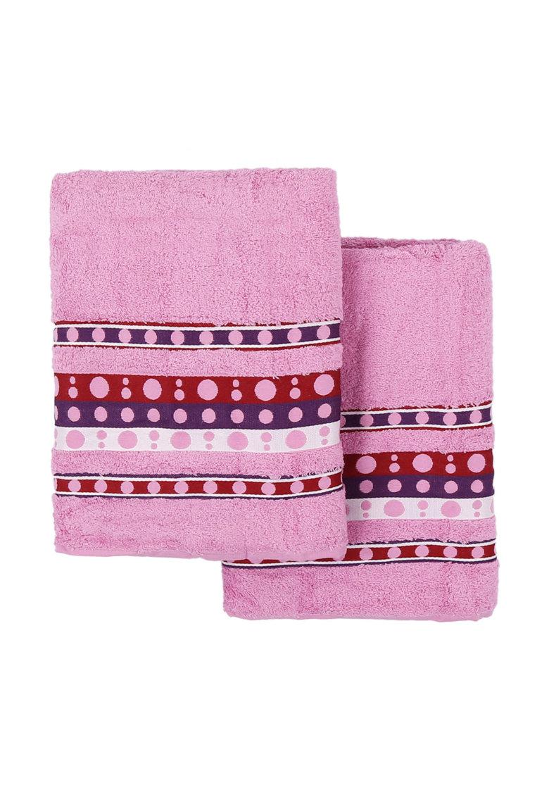 Leunelle Set de prosoape roz cu buline Nokta – 2 piese