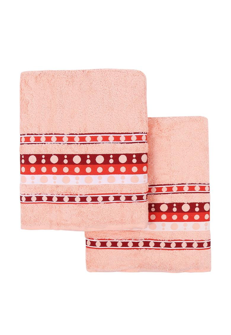 Leunelle Set de prosoape roz somon cu buline Nokta – 2 piese