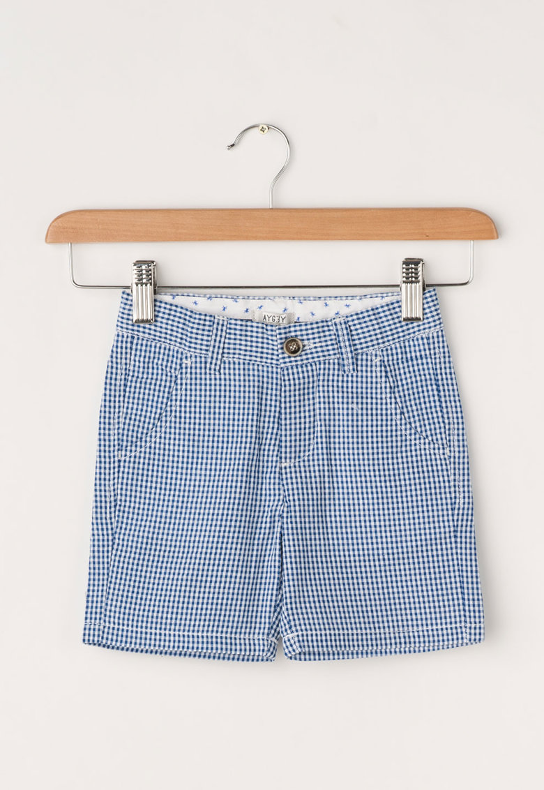 Aygey Pantaloni scurti albastru si alb cu model gingham
