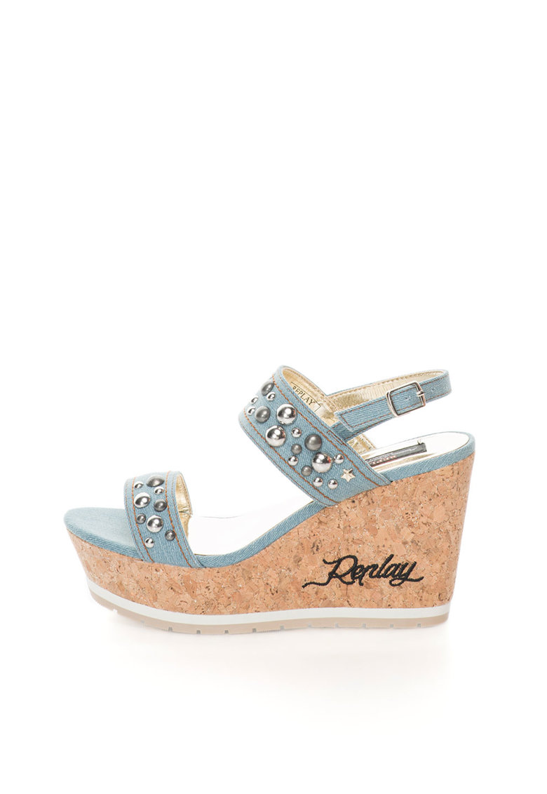 Replay Sandale wedge albastru prafuit din denim Serne