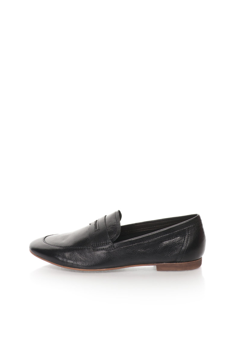 Pantofi Loafer Negri De Piele Clara