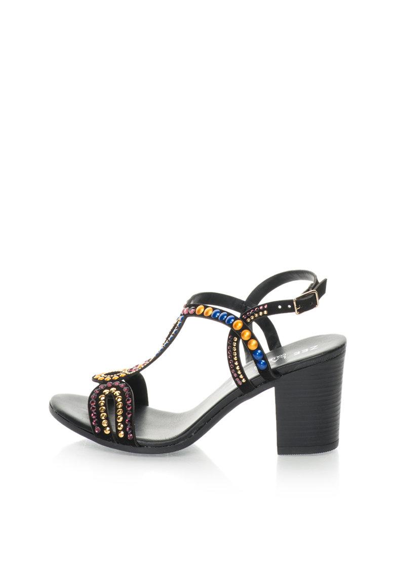 Zee Lane Collection Sandale slingback negre de piele intoarsa cu strasuri