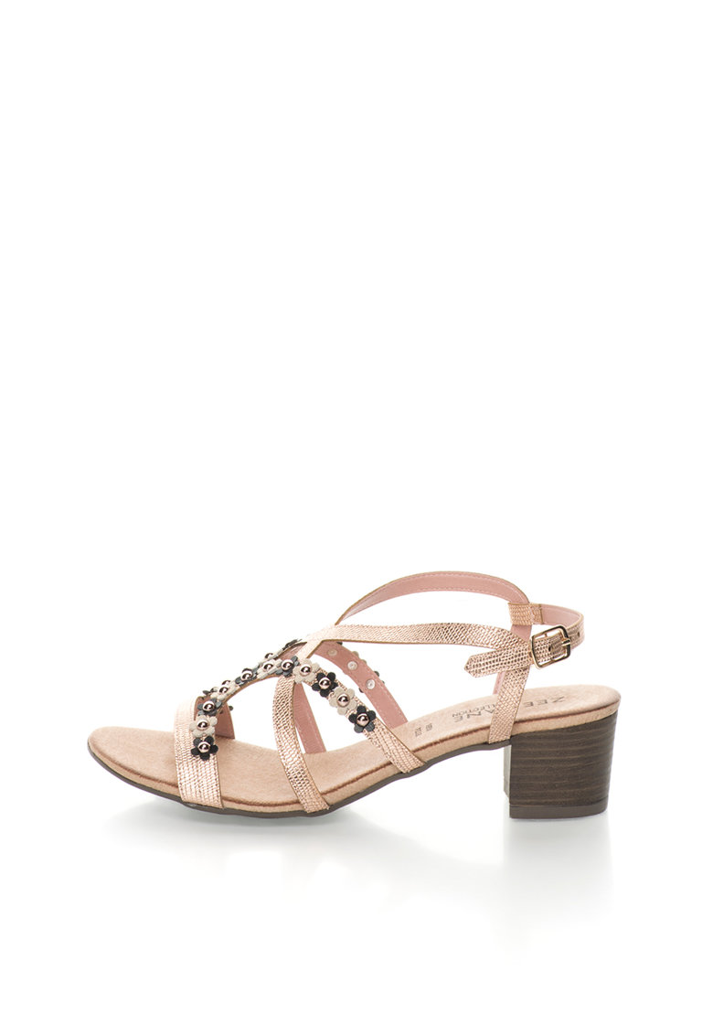 Sandale slingback auriu rose cu elemente florale Lizzy de la Zee Lane Collection