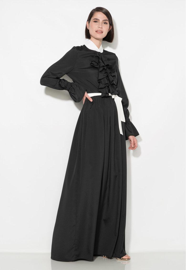 Zee Lane Collection Rochie maxi neagra cu garnituri albe