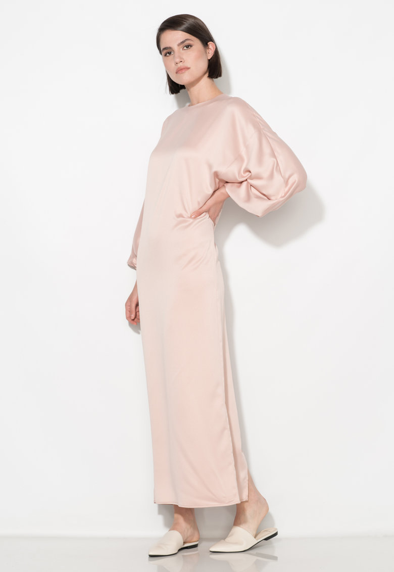 Zee Lane Collection Rochie lunga roz deschis cu maneci bufante