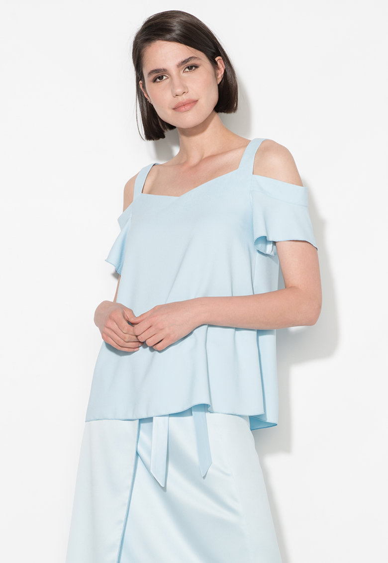 Zee Lane Collection Bluza bleu cu decupaje pe umeri