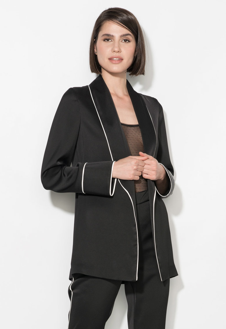 Zee Lane Collection Sacou negru fara inchidere si cu garnituri albe