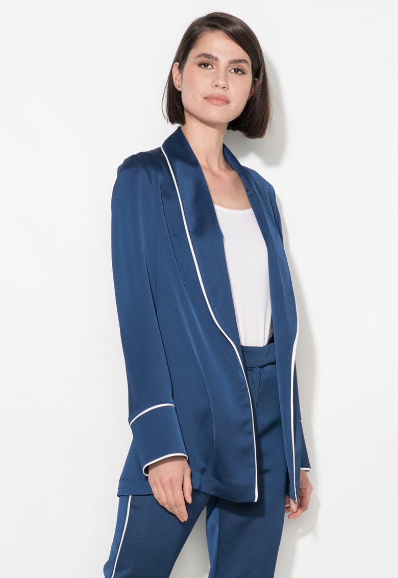 Zee Lane Collection Sacou bleumarin fara inchidere si cu garnituri albe