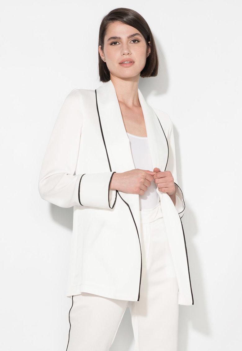 Zee Lane Collection Sacou alb fara inchidere si cu garnituri negre