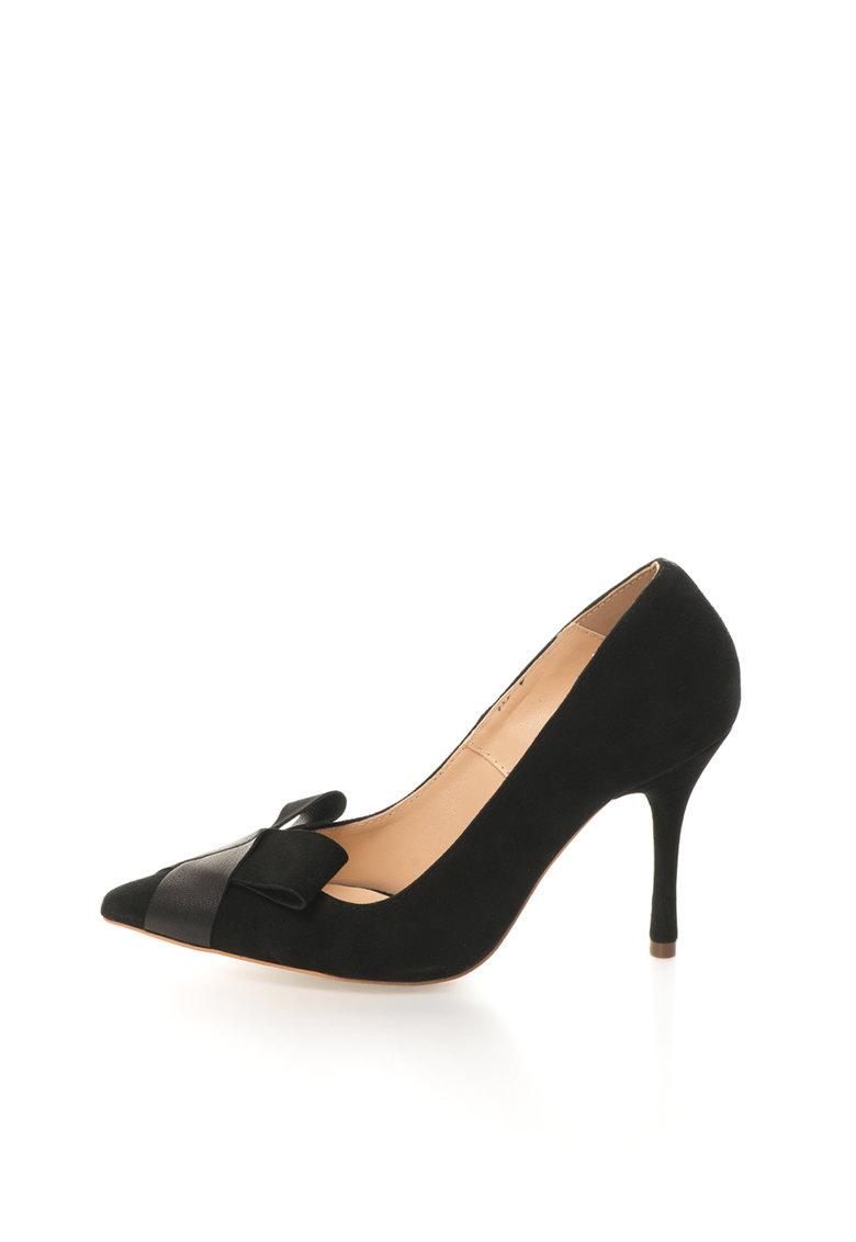 Mihaela Glavan Pantofi negri de piele intoarsa si piele cu varf ascutit
