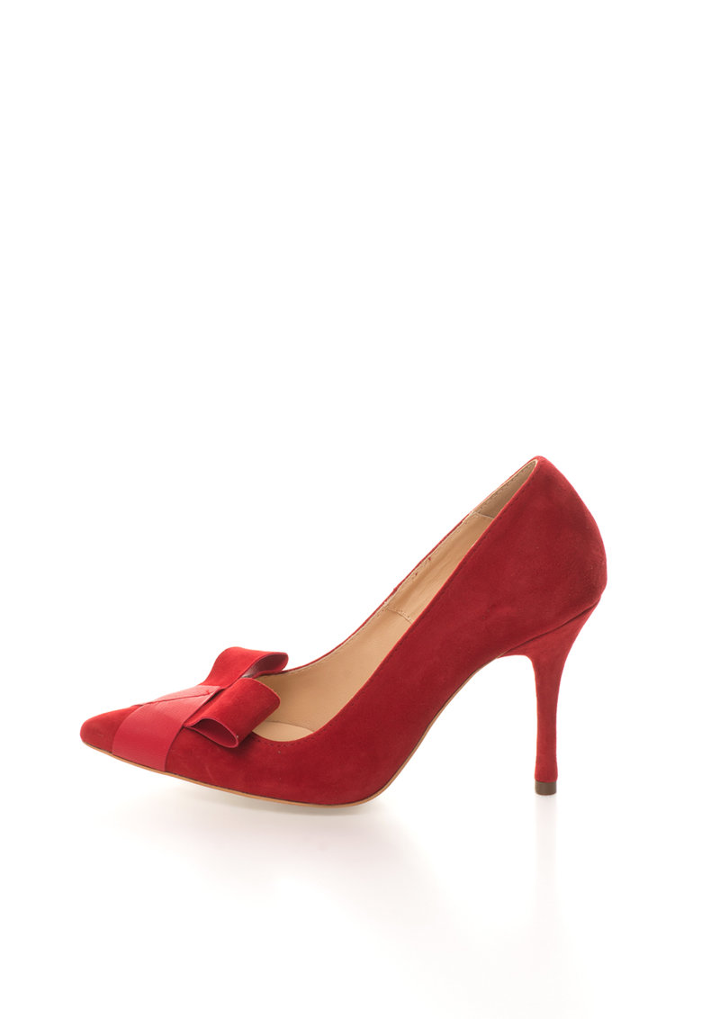 Mihaela Glavan Pantofi rosii de piele intoarsa si piele cu varf ascutit