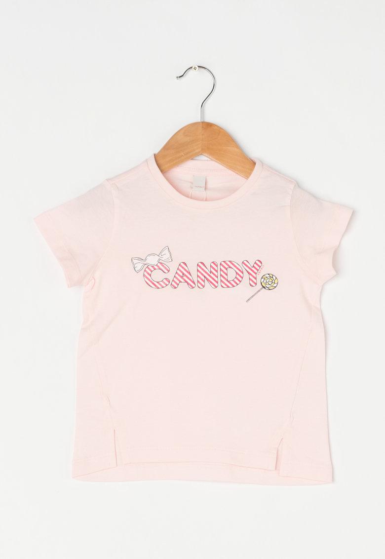Tricou roz pastel cu imprimeu stralucitor