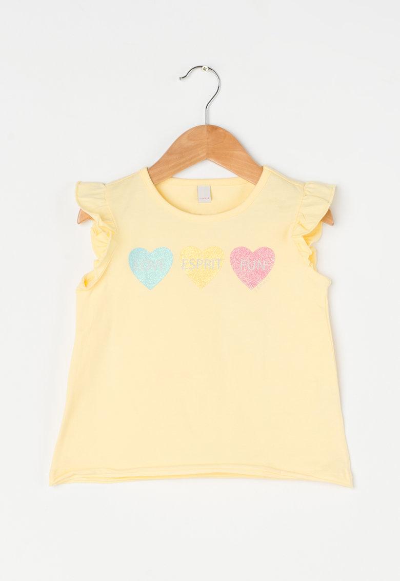 Esprit Tricou galben cu imprimeu stralucitor