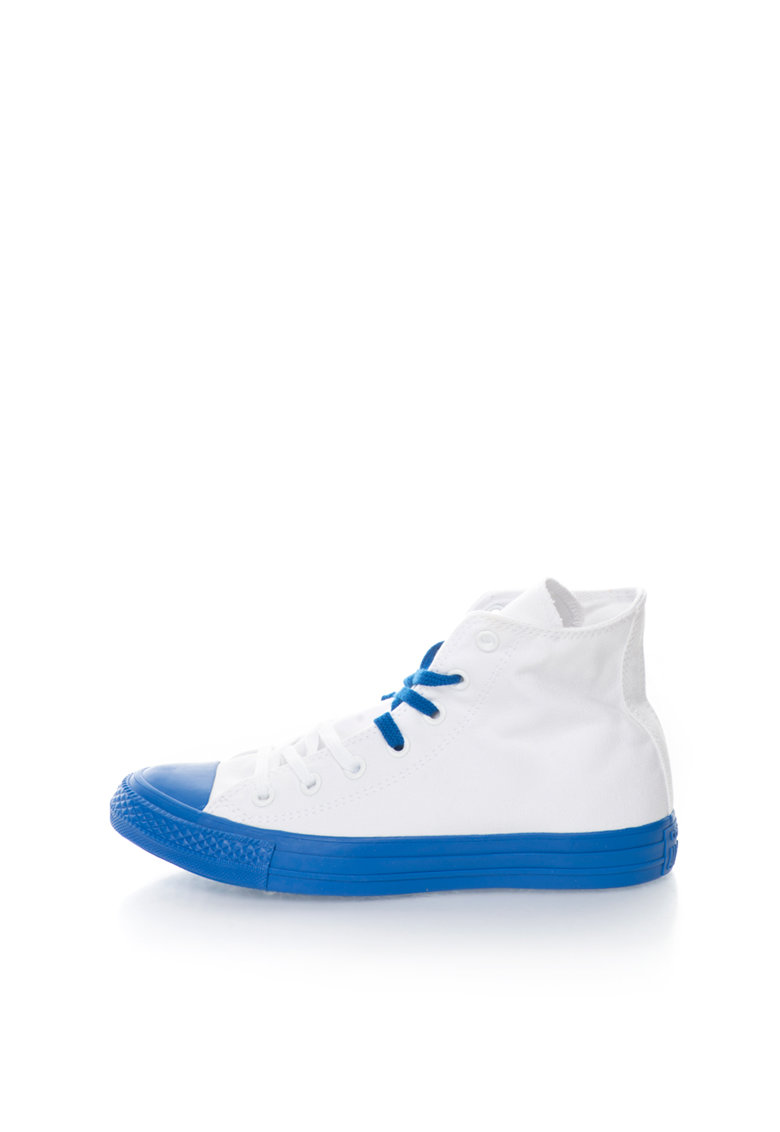 Tenisi inalti alb cu albastru royal de la Converse