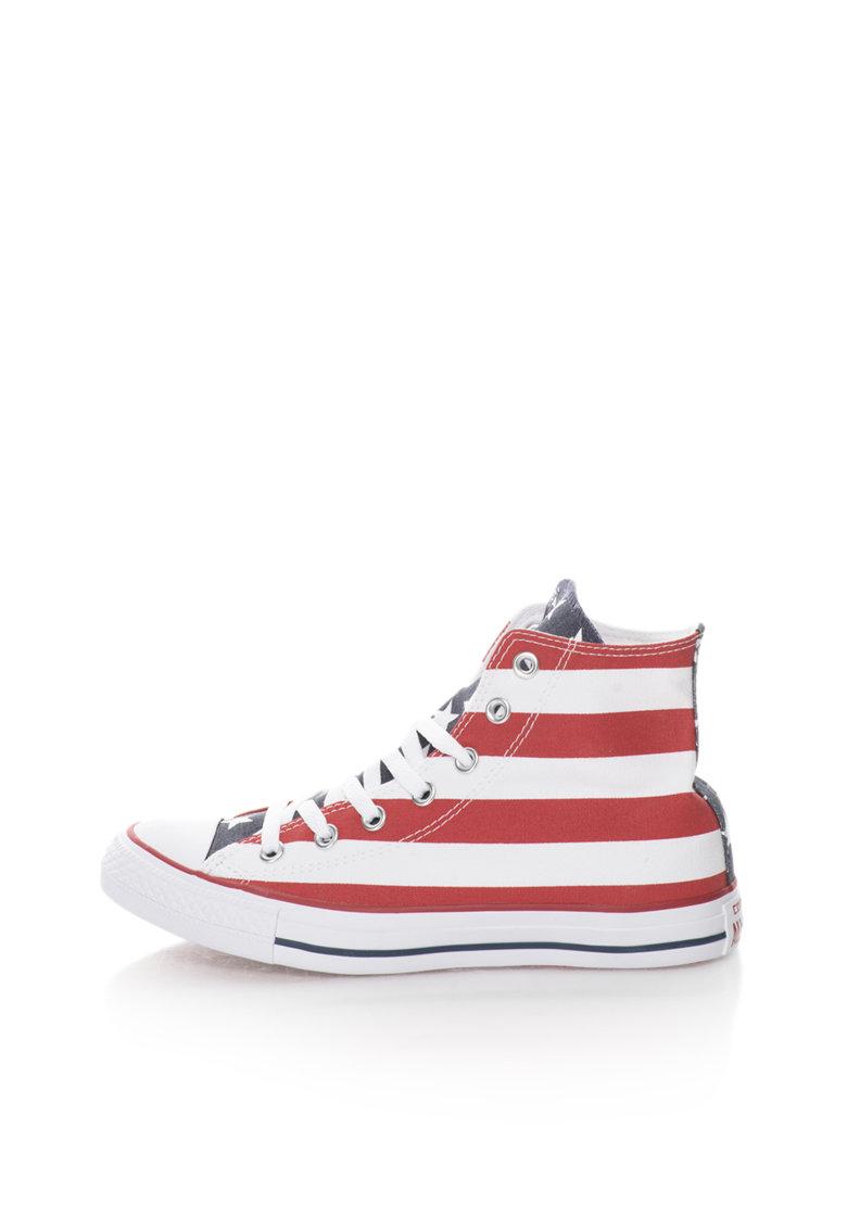 Converse Tenisi inalti albastru si rosu cu steagul SUA