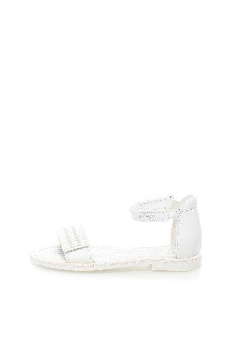 Sandale albe cu margele si strasuri