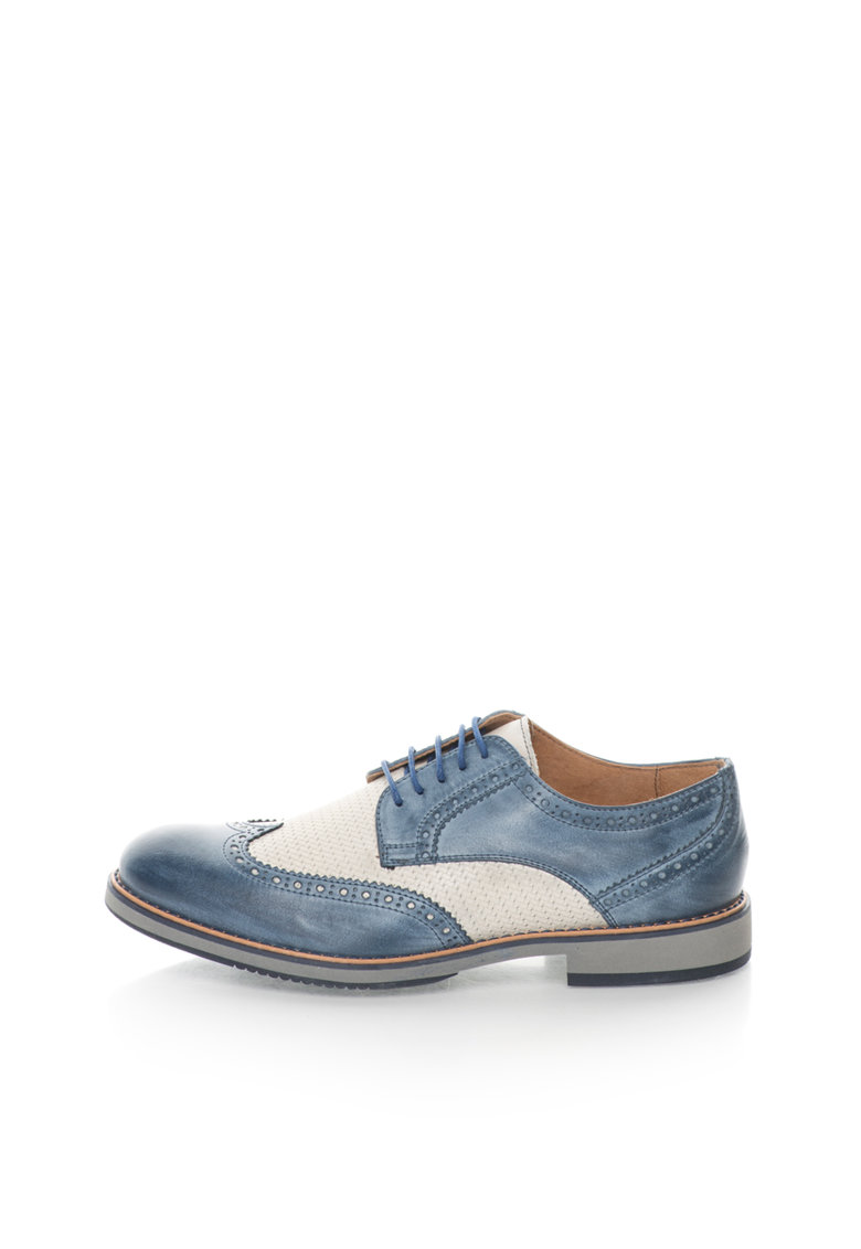 Pantofi brogue albastru prafuit cu alb fildes de piele Robert de la Zee Lane