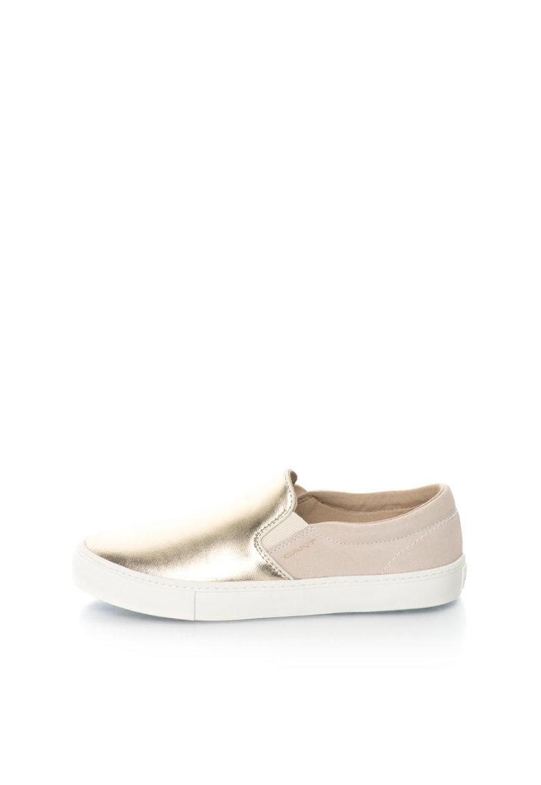 Gant Pantofi slip-on auriu cu bej de piele si piele intoarsa Alice