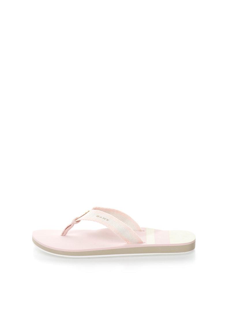 Gant Papuci flip-flop roz pal cu ecru