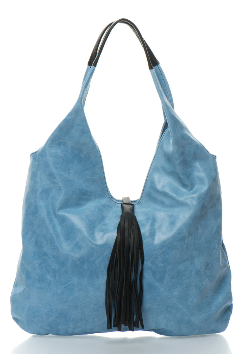 Oakoui Geanta hobo bleu cu negru de piele cu canaf