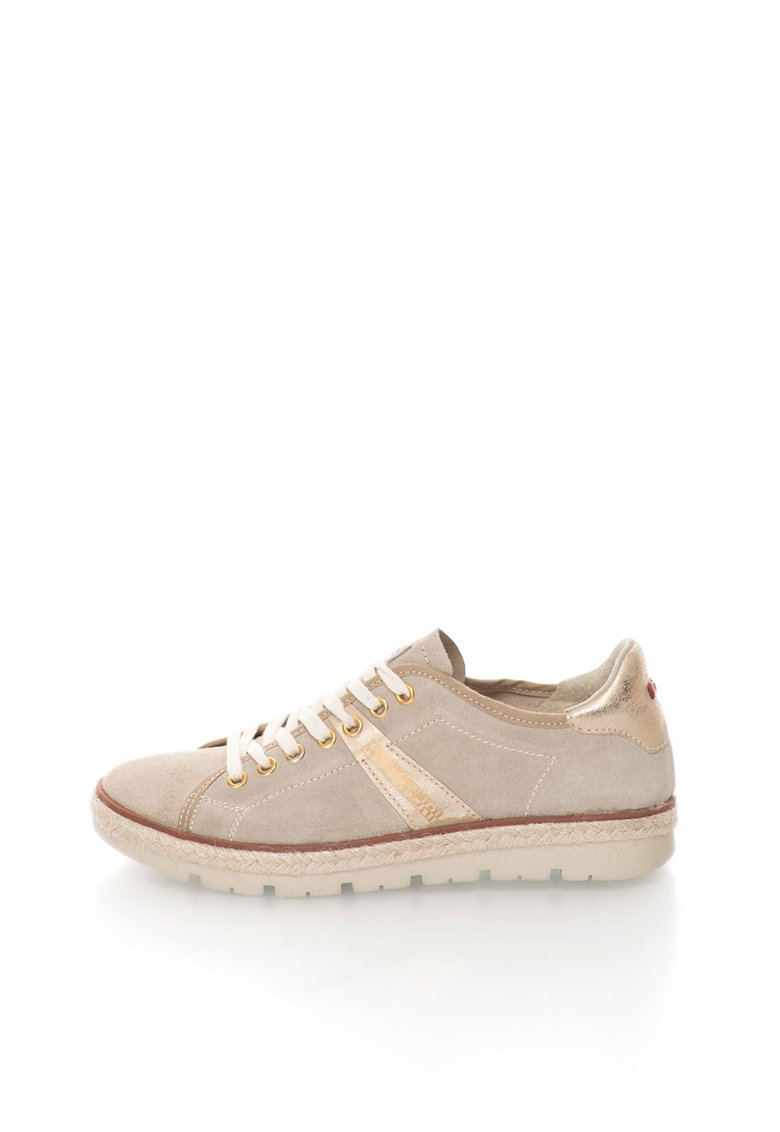 Pantofi casual bej inchis de piele intoarsa Likke