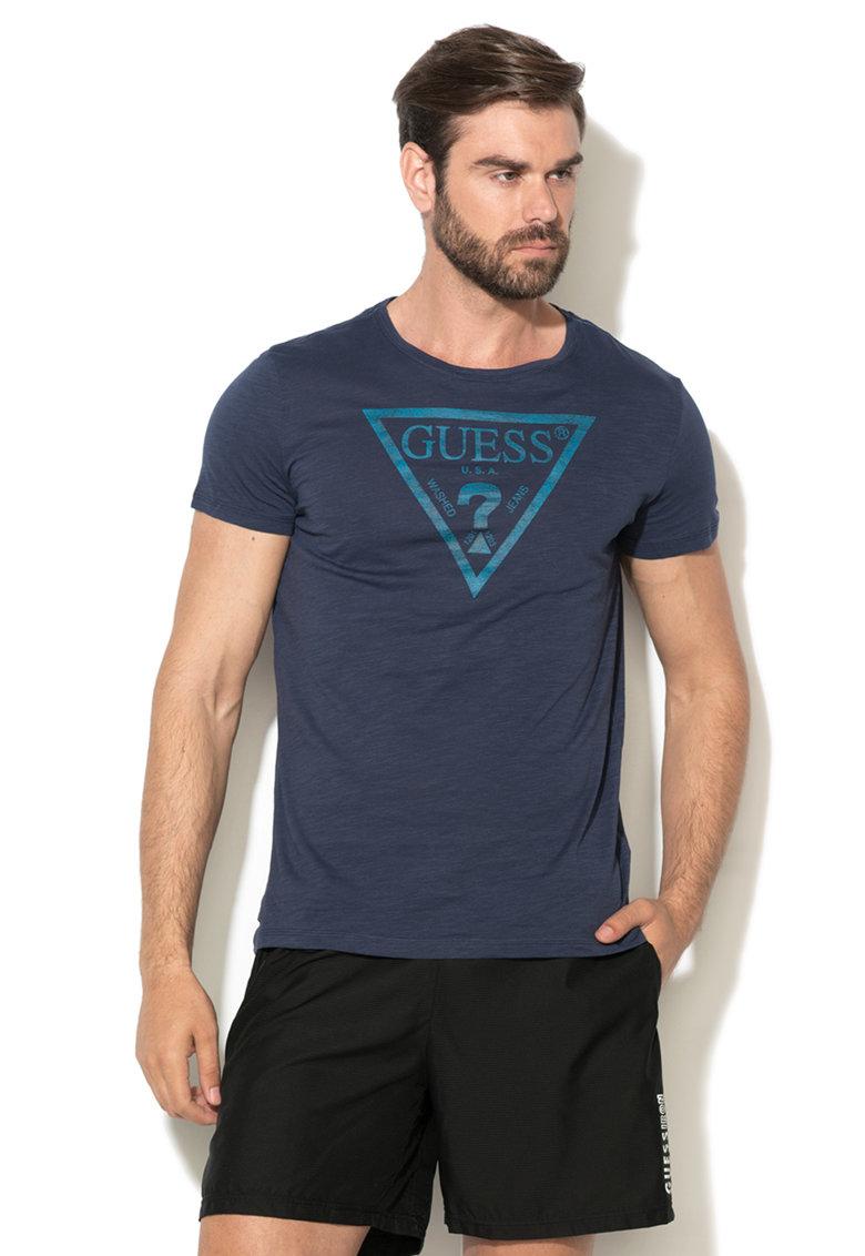 Tricou albastru inchis cu logo