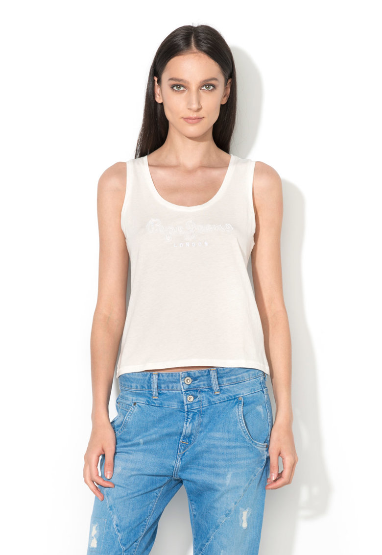 Pepe Jeans London Top alb cu margele Milla