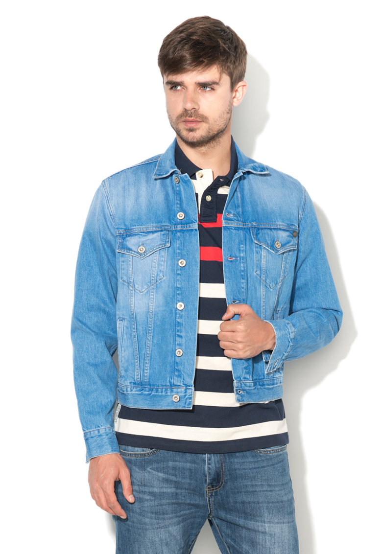 Pepe Jeans London Jacheta albastra din denim Pinner