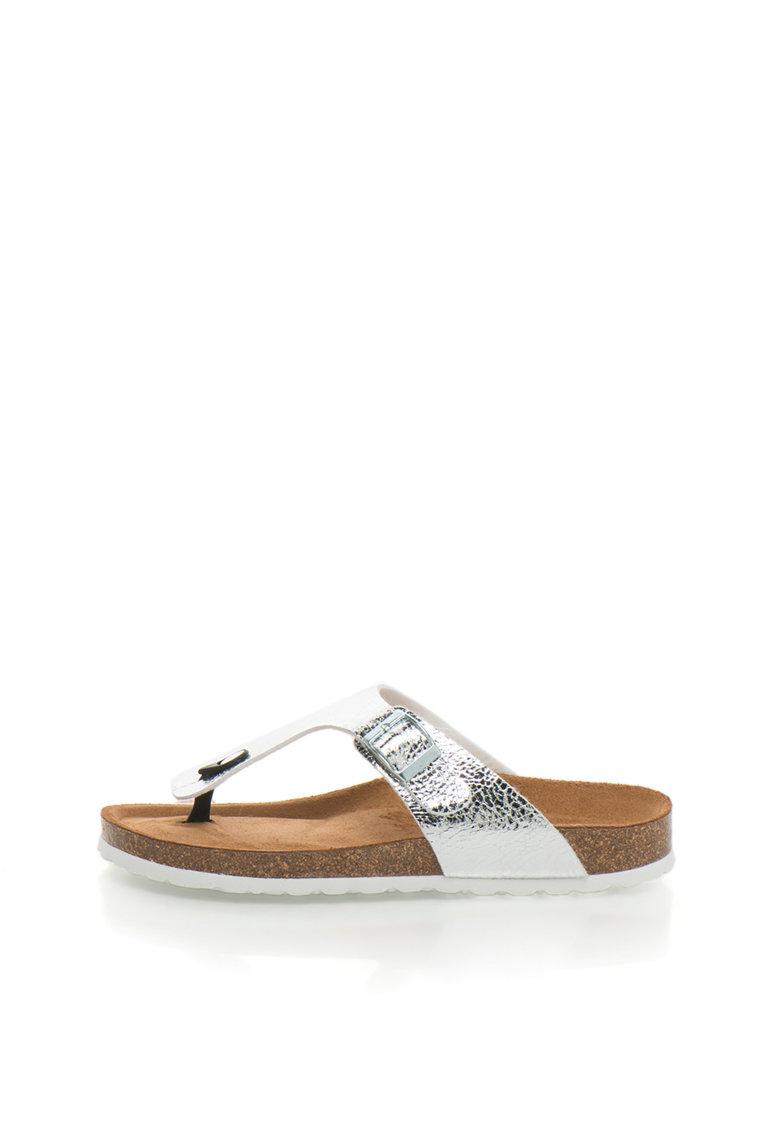 Tamaris Papuci flip-flop argintii cu talpa cu aspect de pluta
