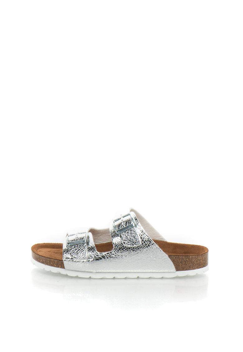 Papuci argintii cu aspect crapat