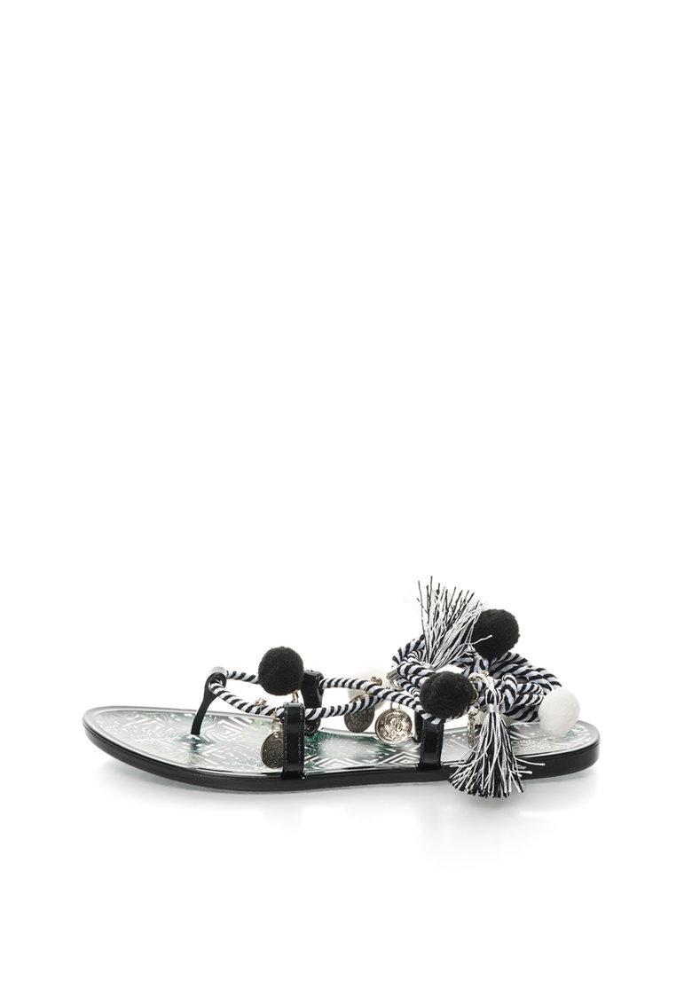 Colors of California Sandale negru cu alb in dungi cu design infasurabil