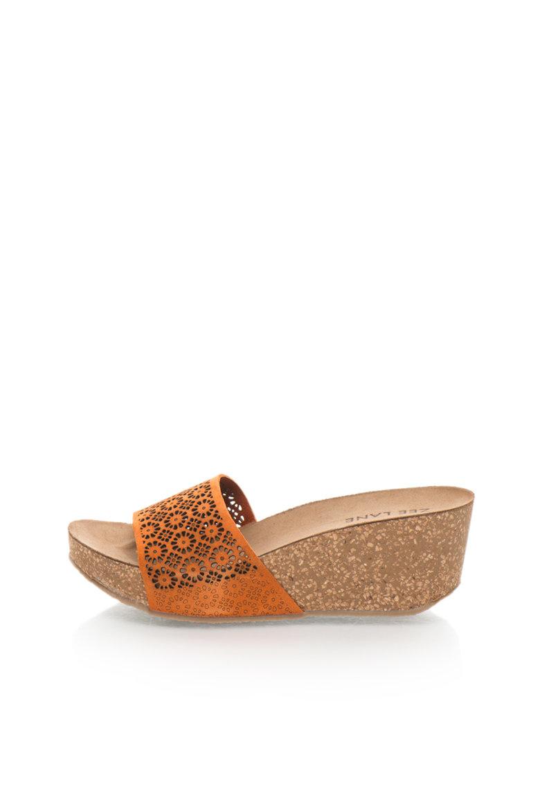 Zee Lane Papuci wedge oranj de piele nabuc Ilenia