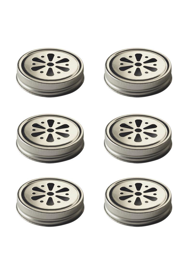 Kilner Set de capace argintii pentru pahare – 6 piese