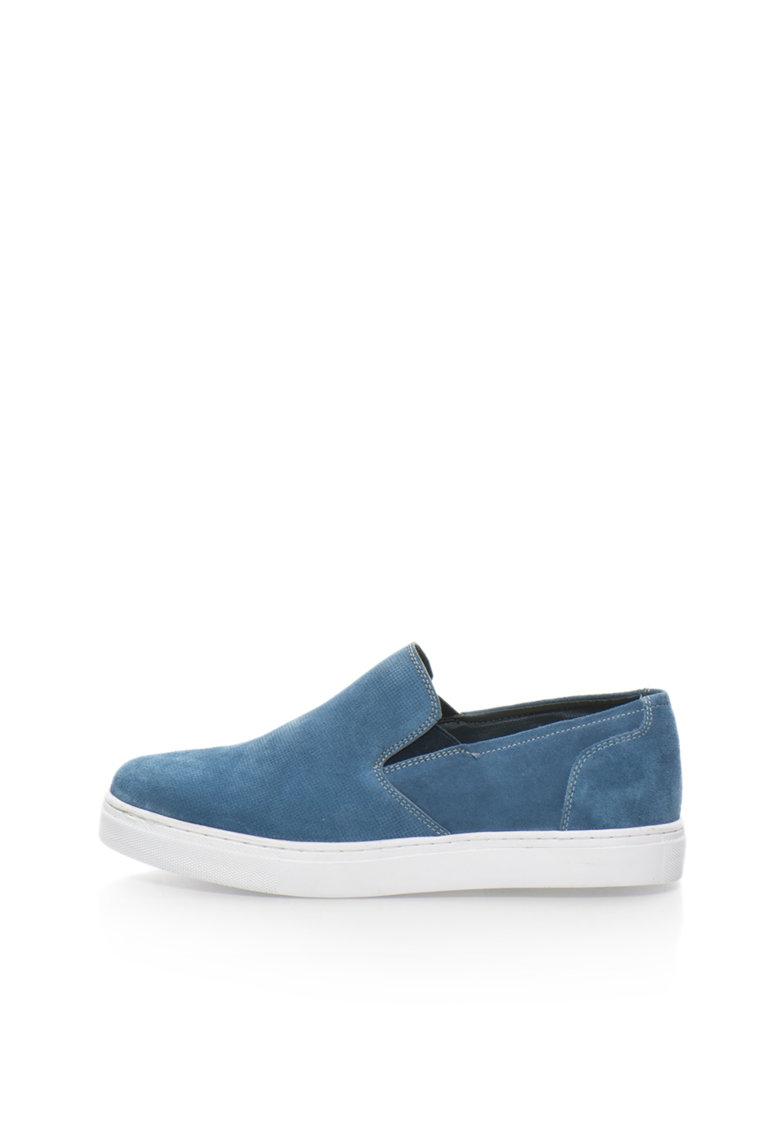 Pantofi slip-on albastri de piele intoarsa