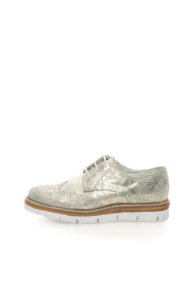Zee Lane Pantofi brogue bej cu auriu de piele intoarsa
