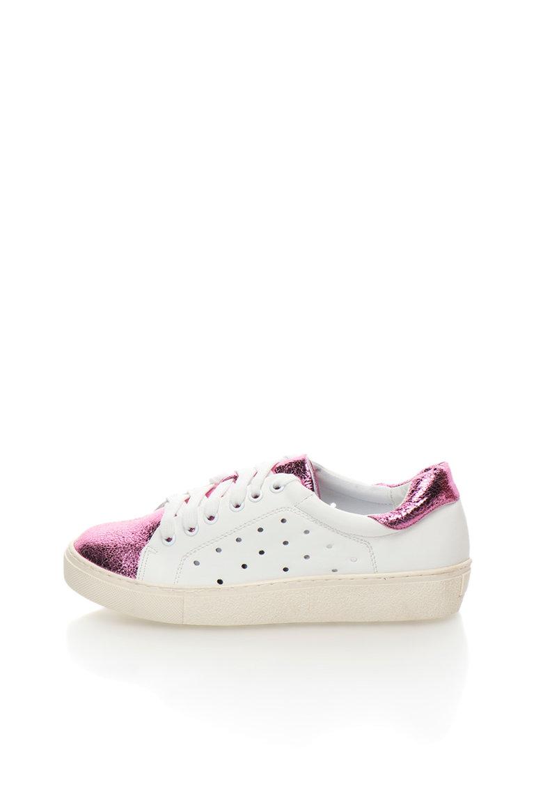 Francesco Milano Pantofi sport alb cu roz metalizat